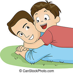 papá, abrazo, hijo