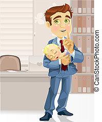 Papá de negocios en la oficina