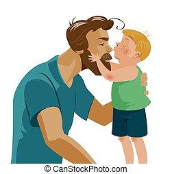 papá, el suyo, amor, besos, abrazar, hijo, tenderness., nose., besar, barba