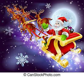 Papá Noel volando en trineo o trineo