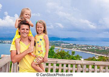 papá, paisaje, el suyo, cubierta de observación, hermoso, plano de fondo, hijas