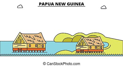 Papúa, nueva línea de viaje de guinea plana fijada. Papua Nueva Guinea ilustración de vectores de la ciudad negra, símbolo, lugares de viaje, puntos de referencia.