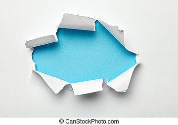 papel, agujero, dañado, destruido, rasgado, estallar
