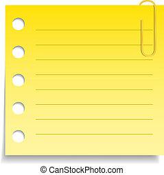 Papel amarillo en blanco con clip