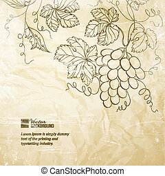 Papel arrugado marrón con uvas.