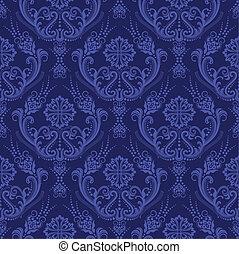 Papel azul floral de lujo