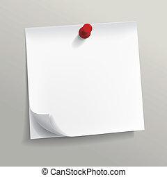 papel, blanco, nota, alfiler