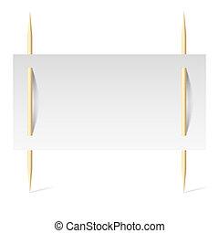 Papel blanco sobre palillos
