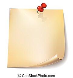 Papel con alfiler rojo en antecedentes blancos.