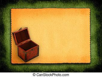 Papel con baúl de madera antiguo