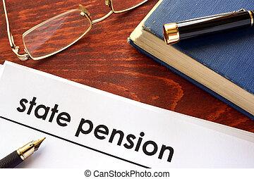 Papel con título de pensión estatal.