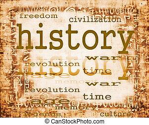 papel, concepto, viejo, historia