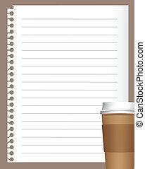 Papel de cuaderno con café