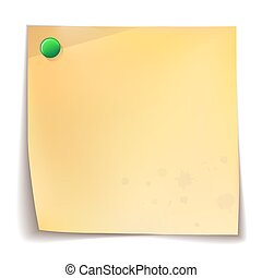 Papel de nota sobre fondo blanco.