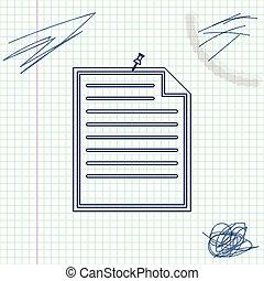 Papel de notas con icono de bocetos de la línea Pushbutton aislado en el fondo blanco. Memo signo de papel. Ilustración de vectores