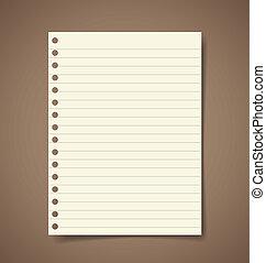 Papel de notas. Ilustración de vectores.