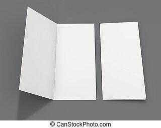 Papel de retrato en blanco. Brochure, revista, postal aislada. 3D