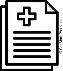 papel, estilo, discapacitada / discapacitado, icono, médico, contorno