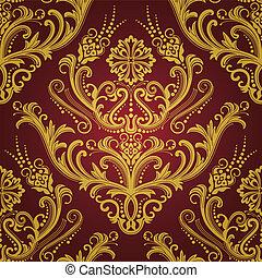 Papel floral de lujo rojo y dorado