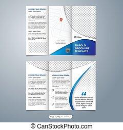 papel, folleto, tamaño, tri, a4, plantilla, pliegue