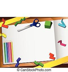papel, fondo., corte, 3d, escritorio
