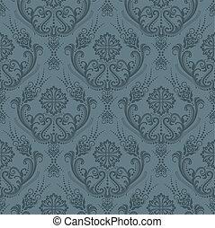 Papel gris floral de lujo