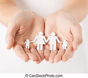 papel, hombre, mujer, familia , manos
