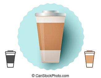 papel, jarra, café