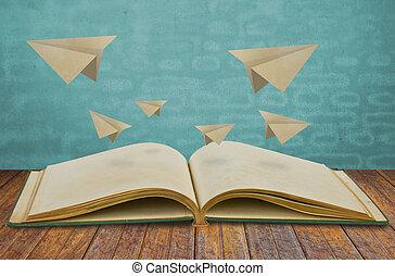 papel, magia, libro, avión