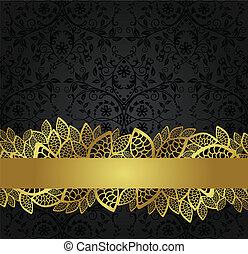 Papel negro y estandarte dorado