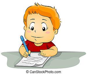 papel, niño, escritura