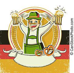 papel, plano de fondo, oktoberfest, viejo, beers., símbolo, alemán, vendimia