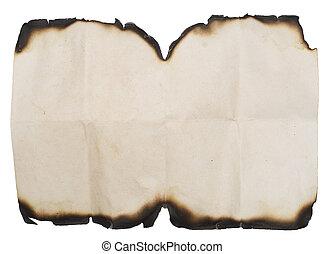 Papel quemado en blanco