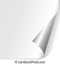 papel, rizado, esquina, (vector)