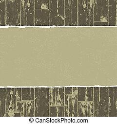 Papel torcido sobre fondo de madera. Vector, EPS10