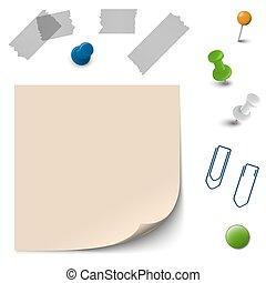 Papel vacío con accesorios de oficina