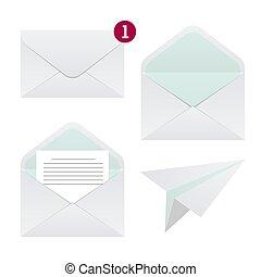 papel, vector, carta, estilo, plano, icono, sobre, símbolo., set., avión