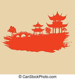 Papel viejo con paisaje asiático