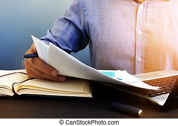 papeleo, verificar, oficina, report., financiero, auditor, audit.