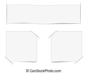 Papeles blancos, listos para su mensaje. Ilustración de vectores.