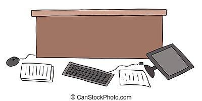 papeles, computadora, desordenado, ilustración, piso, caricatura, escritorio, oficina, vector