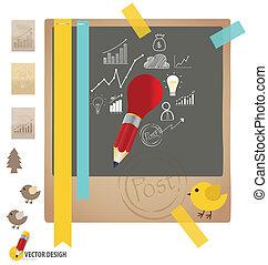 Papeles con gráficos y gráficos. Ilustración de vectores.