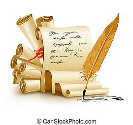 Papeles con textos de letra y plumas de tinta