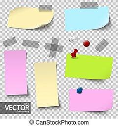 Papeles de colores vacíos con accesorios con transparencia vectorial