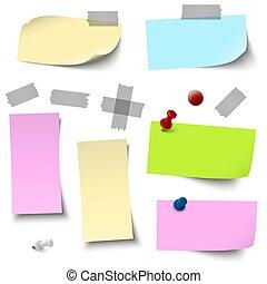 Papeles de colores vacíos con accesorios