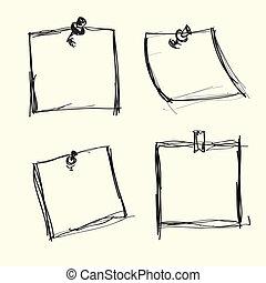 Papeles de notas a mano con alfileres