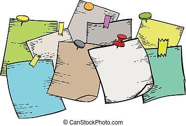 Papeles de notas con dibujos de agujas