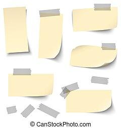 Papeles vacíos con accesorios