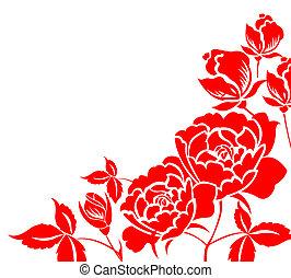 paper-cut, flor, chino, peonía