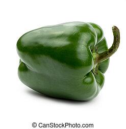 Paprika verde, tamaño grande, aislado en un fondo blanco